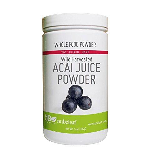 Nubeleaf Acai Juice Powder - Non-GMO, Gluten-Free, Raw, Vegan Antioxidant Source - Single-Ingredient Nutrient Rich Superfood for Cooking, Baking, Smoothies (14oz) ()