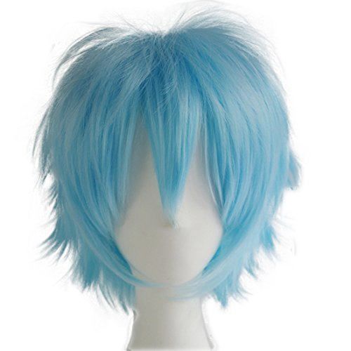 Spiky Wig (Alacos Popular Synthetic Short Unisex Spiky Cosplay Anime Wig Aqua Blue Wig with Bangs +Free Wig Cap)