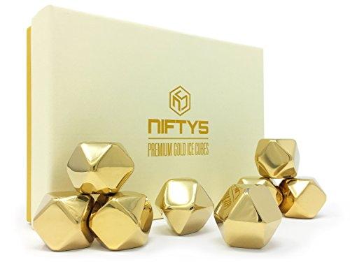 Ice Gift (NIFTY5 Whiskey Stones Gold Edition Gift Set of 8 Stainless Steel Diamond Shaped Ice Cubes, Reusable Chilling Rocks including Silicone Tip Tongs and Storage Tray)