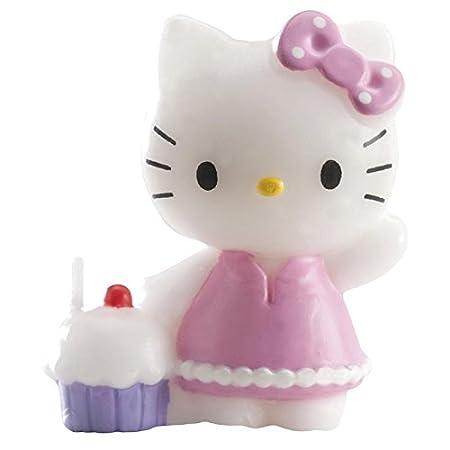 dekora 346060 Vela de Cumpleaños de Hello Kitty, Cera, 6.00x8.00x16.00 cm