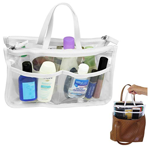 - Evelots Clear Purse Key/Phone/Cosmetic/Make Up Organizer-8 Pockets-Strong Zipper