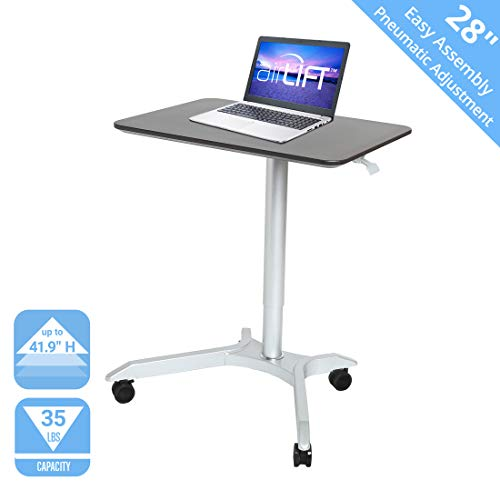 """Seville Classics OFF65800 AIRLIFT XL 28"""" Pneumatic Height Adjustable Sit-Stand Mobile Laptop Computer Desk Cart (27.1"""" to 41.9"""" H), Espresso"""