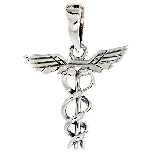 Medical Symbol Sterling Silver Charm (Sterling Silver Caduceus (Medical Symbol) Charm, 3/4 inch tall)