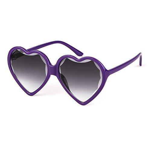 Marco Gris Púrpura Eyewear 1 Chica Elegante Mujeres Sunglasses Vintage Love Heart Party Lente ADEWU Pz4vRHq