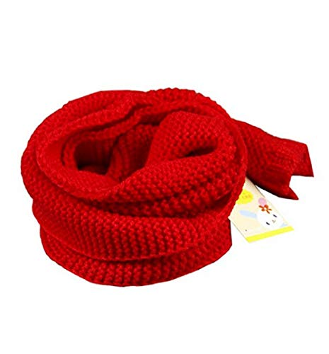 Dolores Kids Soft Knitted Scarf Fashion Solid Color Infant Toddler Warm Scarves Muffler Winter Wrap Shawl Red