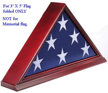 Flag Display Case Box Frame for 3'X5' Flag Folded. (NOT for Memorial or Funeral Flag), Solid Wood - Cherry Finish (FC35-CH)