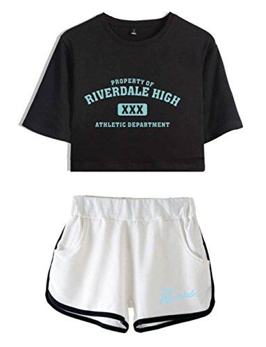 e Shorts Crop Nero T Donne Abbigliamento Ragazze bianca3 Completo Riverdale per Top ZIGJOY e Shirt fxSHSP