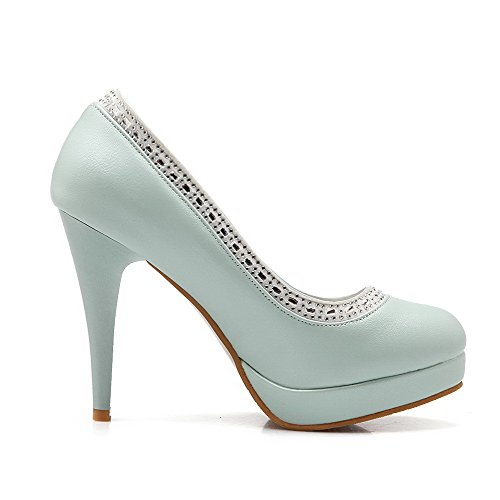 Blue PU Toe Closed Heels Crystals Round Womens with Solid AmoonyFashion High Pull Pumps Shoes on XxqRg86