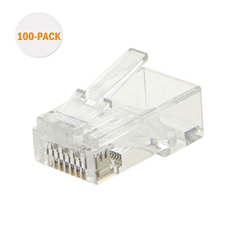 Cat6 RJ45 ends, CableCreation 100-PACK Cat6 Connector, Cat6a / Cat5e RJ45 Connector, Ethernet Cable Crimp Connectors UTP Network Plug For Solid Wire and Standard Cable, Transparent (Network Standard Cables)