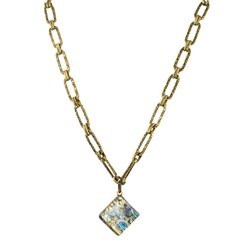 Venetian Glass Square Pendant (Genuine Venice Murano Sommerso Aventurina Blue Square Glass Pendant Necklace, 17