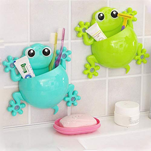 Tpingfe Cute Cartoon Kids Toothbrush Toothpaste Holder Wall Mounted Suction Cup Bathroom Decor (Green)