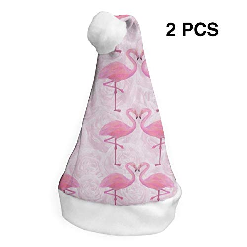 Christmas Hat Watercolor Pink Rose Flamingo Santa Headwear Xmas Cap Cosplay Decorations 2 Piece