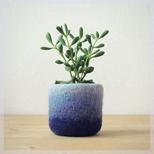 Felt vase/modern planter/cactus vase/Ombre Blue/housewarming gift/gift for her/gift for coworker