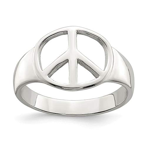 925 Sterling Silver Peace Sign Band Ring Size 6.00 Fine Jewelry Gifts For Women For Her
