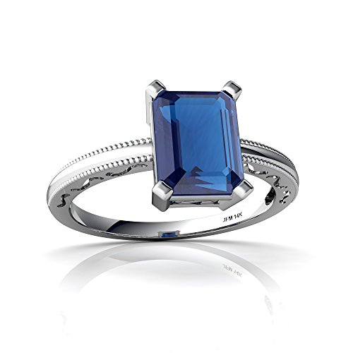 Blue Topaz Milgrain Ring - 14kt White Gold London Topaz 8x6mm Emerald_Cut Milgrain Scroll Ring - Size 6.5