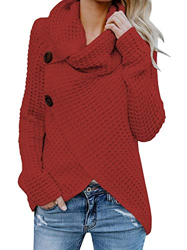 Pxmoda Womens Heap Collar Button Down Knit Pullover Top Turtleneck Wrap Sweater Jumper (S, 1-Red)