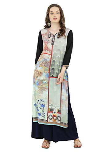 Lagi Kurtis Ethnic Women Kurta Kurti Tunic DigitA Print Printed Straight A-line Top Dress Casua Wear New Launch (Maroon-2XL)