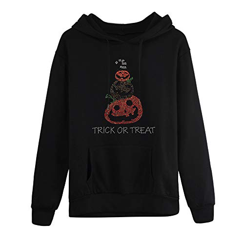 Halloween Womens Blouse Hot Sale,Ladies Juniors Girls Long Sleeve Hooded Neck Black Blouse Tops DEATU (Black 3,XL) -