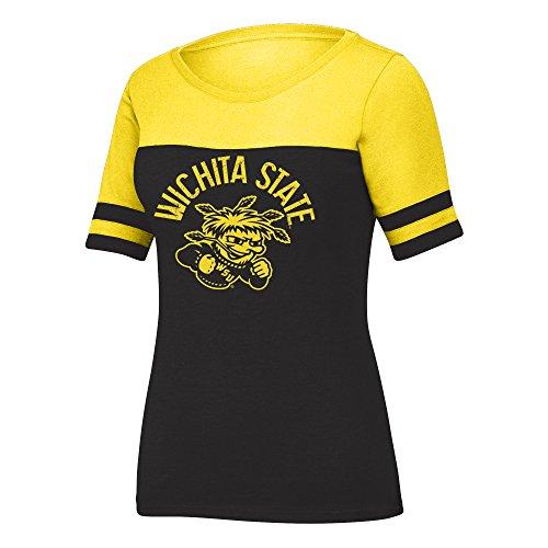 NCAA Wichita State Shockers Women's Stadium Tee, Large, Black Heather/Yellow
