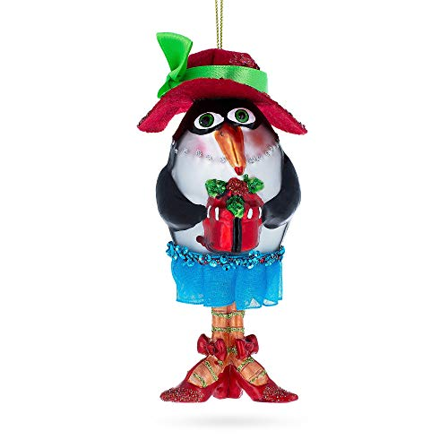 (BestPysanky Penguin Dressed Blown Glass Christmas Ornament)