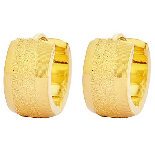 Edforce Stainless Steel Sandy Textured Huggie Hinged Hoop Dangle Earrings for Men Women (Gold)