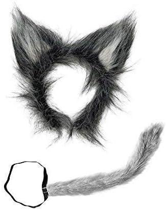 Accesorios disfraz de lobo- cola y orejas de lobo de peluche ...