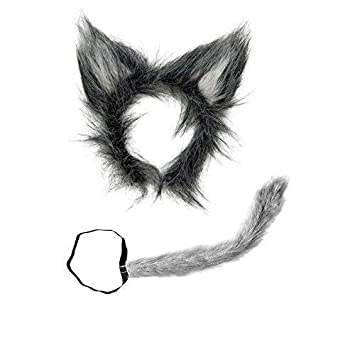 Accesorios disfraz de lobo- cola y orejas de lobo de peluche
