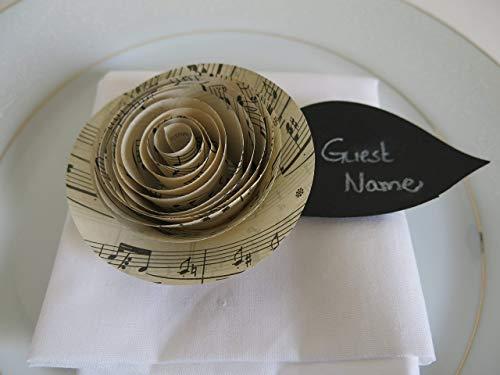 6 Sheet Music Ranunculus (Buttercup) Place Cards with Black Chalkboard Leaf, Modern Wedding Ideas, Popular Trend