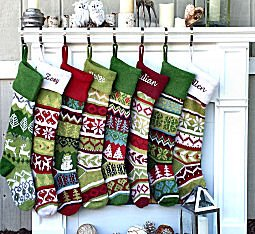 SET OF 4 Knit Christmas Stockings Fair Isle Design 28'' Personalized - CHOOSE YOUR DESIGNS - Embroidered with Your Names by CHRISTMAS-STOCKINGS-by-STOCKINGFACTORY (Image #6)