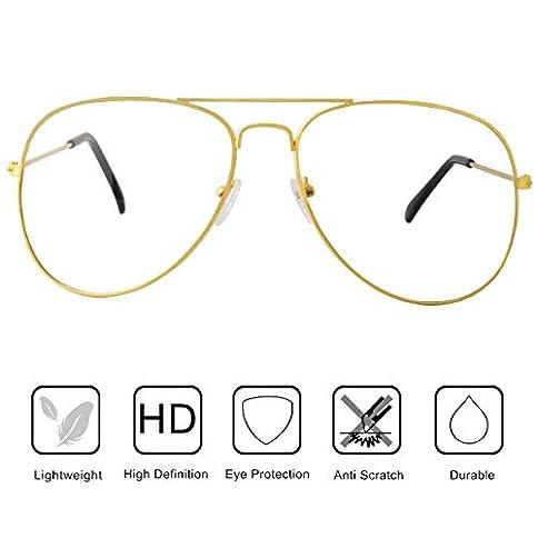 - 41QrPBCUujL - AISSWZBER Clear Aviator Glasses Lens Classic Metal Frame Eyeglasses