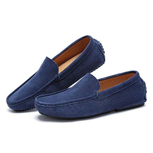 [ジョイジョイ] ローファー スエード ドライビングシューズ メンズ 軽量 モカシン メッシュ スリッポン カジュアル 夏用 滑り止め デッキシューズ スニーカー 編み込み風 革靴 履きやすい 手作り 青い 5色/ブルー