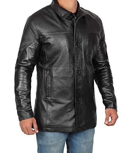 BlingSoul Black Leather Car Coat For Men| Bristol - 3XL