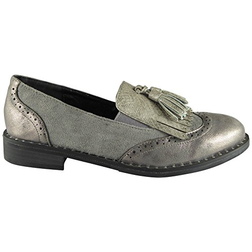 Womens Ladies Lace up Brogue Loafers Casual Comfy Studs Flat Low Heel Shoes Size 3-8 Grey K7PdfuO2n