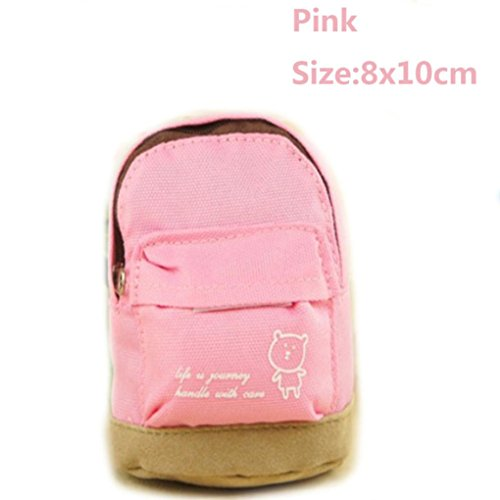 Coerni Canvas Mini Cute Backpack Coin Purse Key Ring Card Holder Wallet Pouch For Women Girls Kids on SALE (Pink)