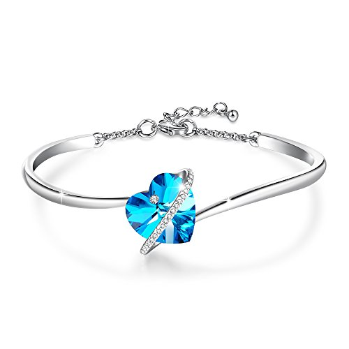 """- GEORGE · SMITH """"Love Echo""""7inches Adjustable Blue Heart Bangle Bracelet with Swarovski Crystals Birthday for Women Mom"""