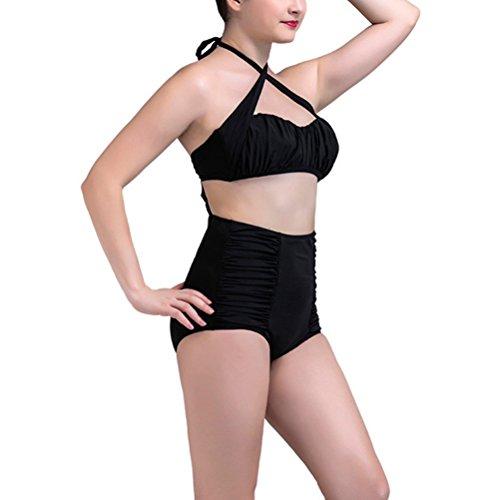 YoungSoul Bañadores dos piezas, Trajes de baño cintura alta vintage, Bikini con cuello halter y detalle fruncido, Conjuntos de bikinis para mujer Negro