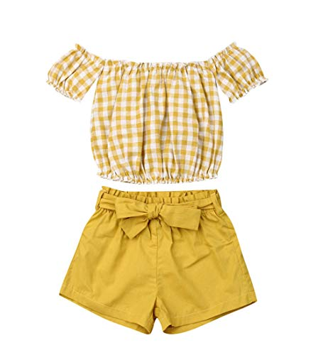 Toddler Kids Baby Girl Floral Halter Ruffled Outfits Clothes Tops+Shorts 2PCS Set (1-2 Years, Yellow -