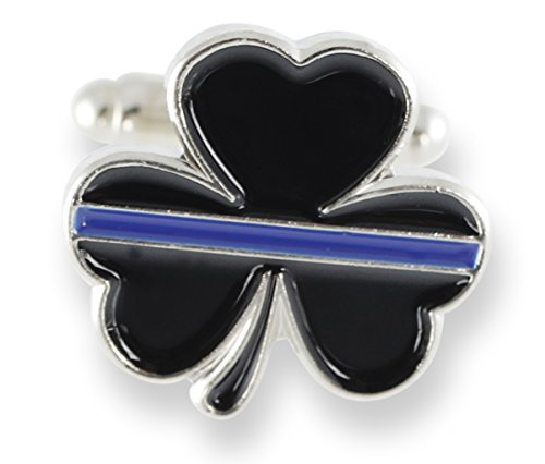 Forge Thin Blue Line Shamrock Enamel Cufflink + Lapel Pin + Tie Bar (Silver Cufflinks)