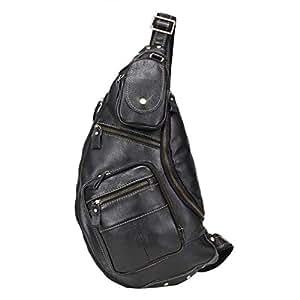 Genuine Leather Sling Bag,Full Grain Leather Casual Crossbody Shoulder Chest Bag Travel Hiking Vintage Backpacks