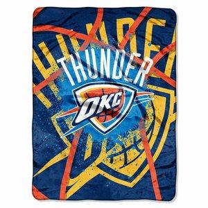 NBA Oklahoma City Thunder Shadow Play Plush Raschel Blanket, Blue, 60 x 80-Inch