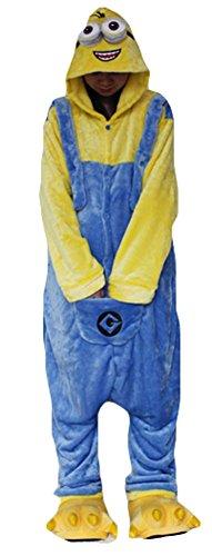 King Ma Unisex Adult Sleepsuit Cartoon Costume Cosplay Wear Kigurumi Onesies (Minion Adult Pajamas)