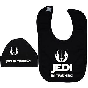 Jedi in Training Baby Feeding Bib & Beanie Hat/Cap Set Black – 6-12 Months – Black