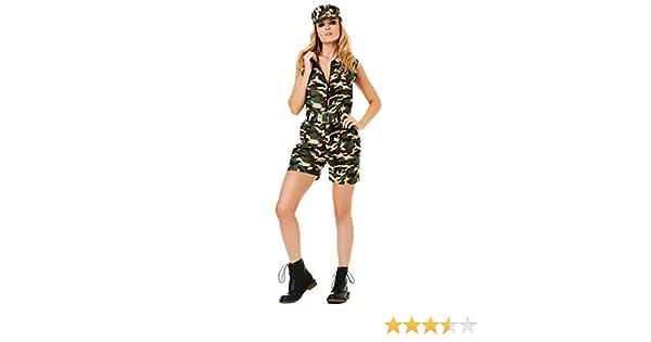 Karnival 81214 - Disfraz de camuflaje militar, para mujer, verde ...
