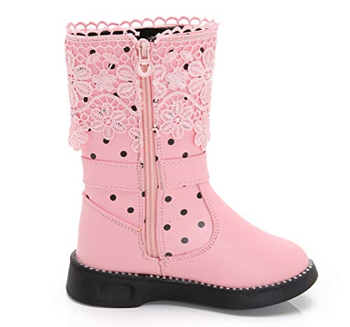 Pictures of DADAWEN Girl's Waterproof Lace Bowknot Side Zipper Fur Winter Boots (Toddler/Little Kid/Big Kid) Pink US Size 10 M Toddler 7