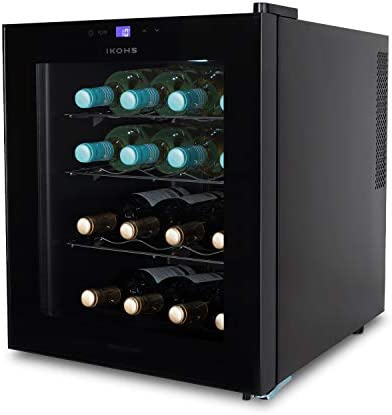 CREATE IKOHS WINECOOLER L - Vinoteca de 16 botellas, 46 l, 70 W, Luz LED, Display Digital, 3 Estantes, Doble Aislamiento, Zonas de temperatura de 11-18 grados, Baldas Acero Inoxidable[Clase de eficiencia energética A]