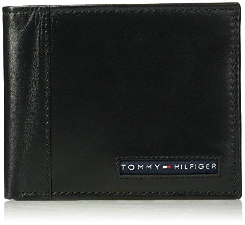 Tommy Hilfiger Men's RFID Blocking Leather Cambridge Passcase Wallet, black