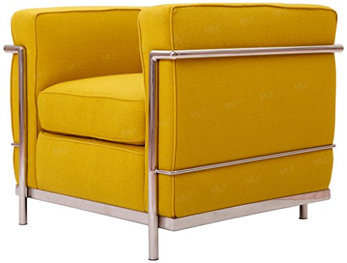 MLF Le Corbusier Style Sofa Armchair, Yellow Cashmere