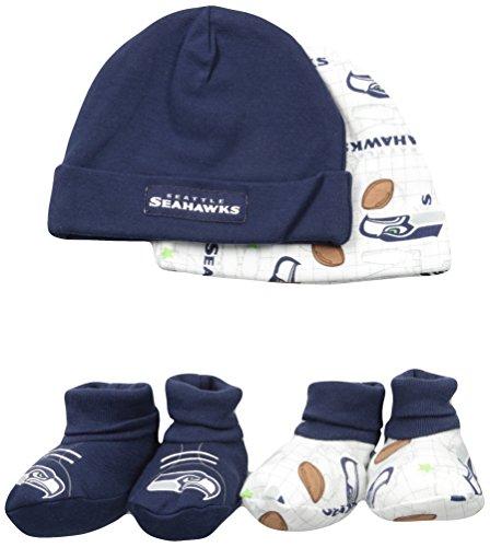 NFL Seattle Seahawks Print Cap & Bootie Set(4 Pack), 0-6 Months, Navy Cap Booties