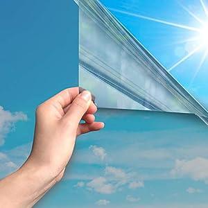 MARAPON® Vinilos para Ventanas con Efecto Espejo [60×200 cm] INKL. eBook – Lámina de Espejo para Ventana, protección UV, protección infrarroja – lámina de adherencia estática