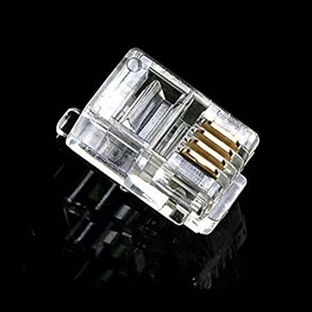 Computer Cables Yoton 100PCS Crystal Head RJ11 4P4C Modular Plug Gold Plated Network Connector Cable Length: Other